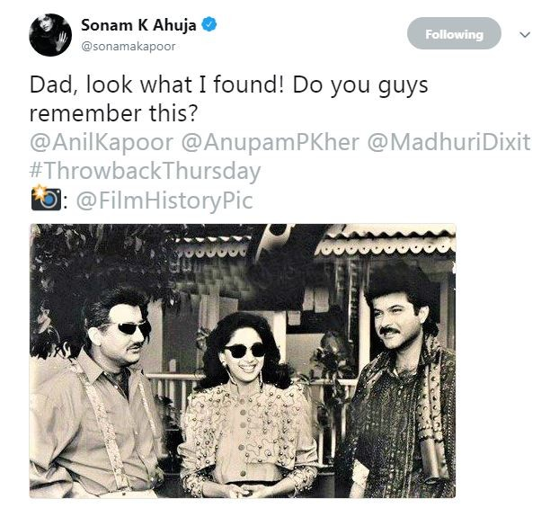 Sonam Kapoor Ahuja,Sonam Kapoor,Sonam Kapoor instagram,Sonam Kapoor twitter,Anil Kapoor,Anil Kapoor old pics,Sonam Kapoor shares throwback picture