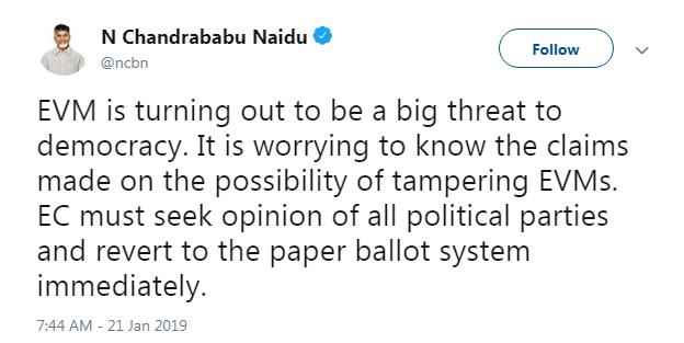 Chandrababu Naidu over EVM hacking