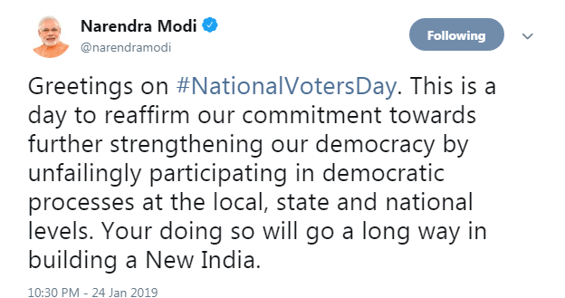 Narendra Modi tweets on 9th National Voters Day