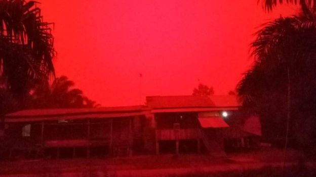 Red haze in Indonesia