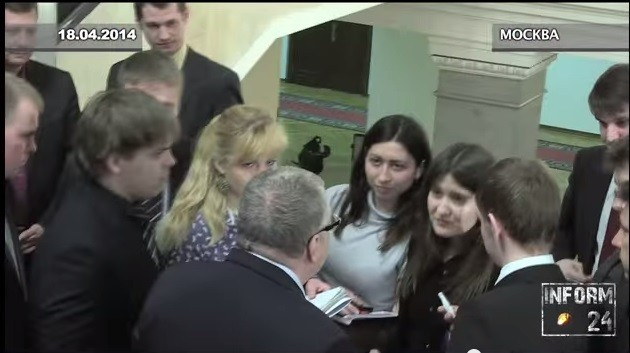 "Vladimir Zhironovsky, a senior Russian politician, has been filmed ordering two of his male aides to ""violently rape"" a pregnant journalist, during a press conference in the state Duma. (Photo: YouTube screen grab)"