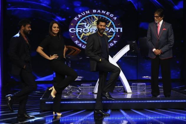 Sonakshi Sinha, Ajay Devgn and Prabhudeva promote 'Action Jackson' at Big B's KBC 8