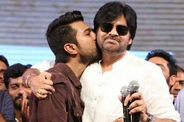 Ram Charan kissing Pawan Kalyan