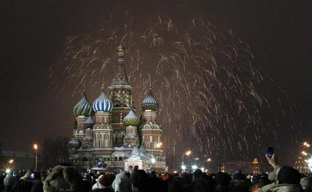 Fireworks explode over St. Basil Cathedral at Red Square during New Year's Day celebrations in Moscow