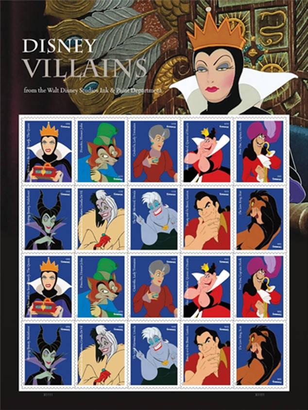Disney Villains,Disney Villains stamp,Disney Villains Us stamp,US postage stamps