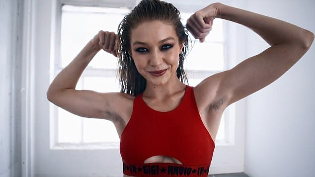 Gigi Hadid,model Gigi Hadid,Gigi Hadid Armpit Hair,Gigi Hadid Calendar Shoot,Gigi Hadid skimpy gym wear