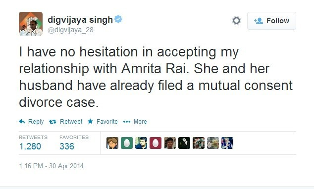 Digvijaya Singh admits to his relationship with Amrita Rai #*# Twitter explodes with jokes, and memes; Here are top 7 funny tweets. (Image: Twitter Screen Shot)