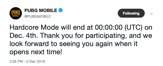 PUBG Mobile hardcore mode removed