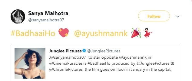 Sanya Malhotra, Ayushmann Khurrana in Badhai Ho
