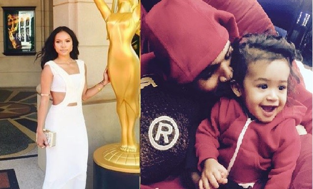 Karrueche Tran; Chris Brown with Baby Royalty