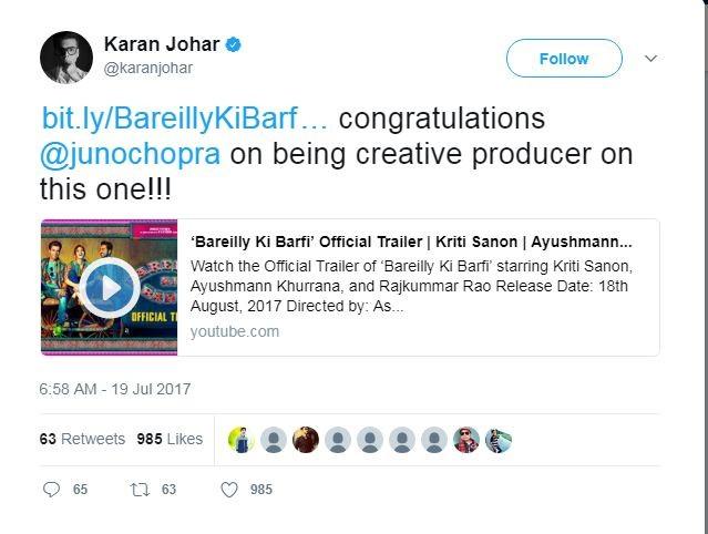 Bareilly Ki Barfi,Juno Chopra,Producer Juno Chopra,Varun Dhawan,Sonakshi Sinha,Sidharth Malhotra,Karan Johar