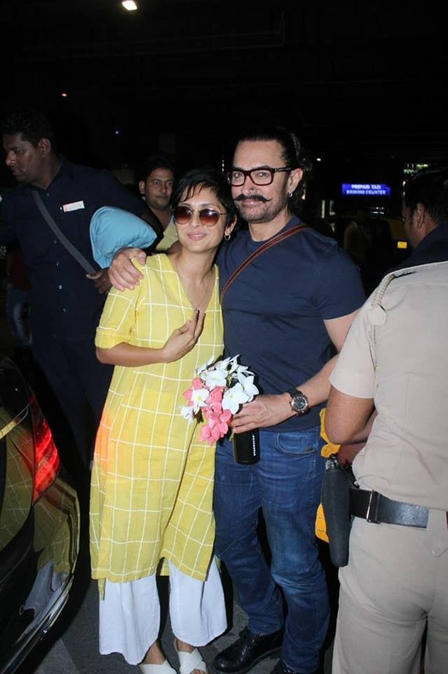 Birthday boy Aamir Khan,Aamir Khan,Aamir Khan with Kiran Rao,Aamir Khan spotted at Airport,Aamir Khan at Airport,Aamir Khan birthday celebration,Aamir Khan birthday celebration pics,Aamir Khan birthday celebration images,Aamir Khan birthday celebration st