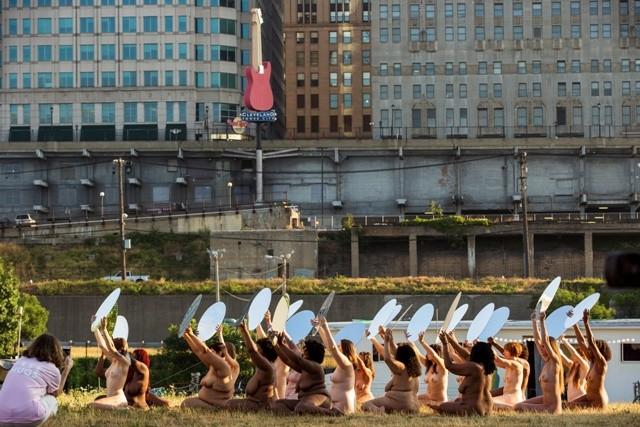 Donald Trump,Donald Trump candidancy,women pose nude,women nude pose,Donald Trump news,against Donald Trump,Spencer Tunick,Spencer Tunick installation,Spencer Tunick art installation