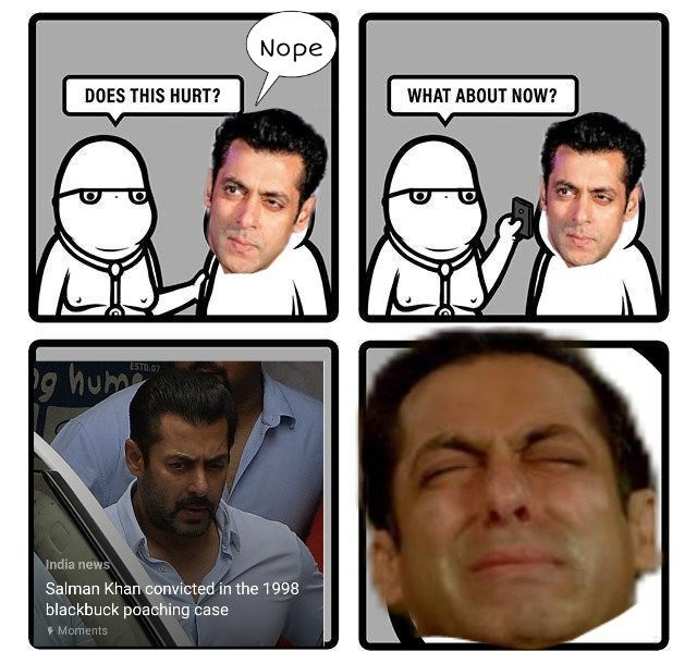 Salman Khan convicted,Salman Khan,Blackbuck poaching case,Salman Khan memes,Salman Khan funny memes,Salman Khan convicted memes