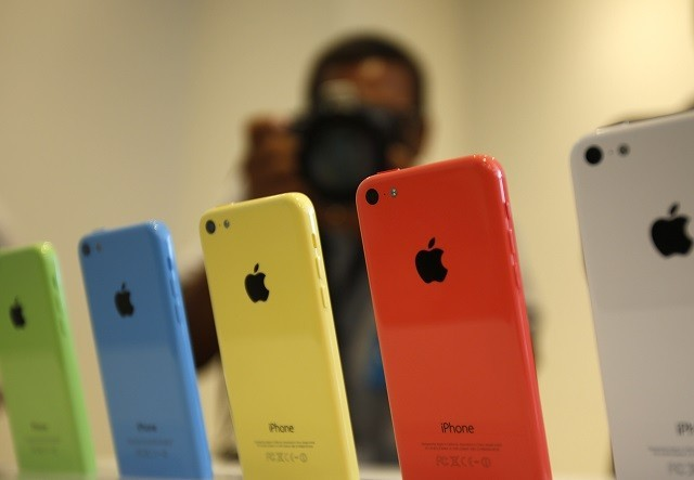 iPhone 5C phones at Apple Inc's media event at Cupertino, 2013.