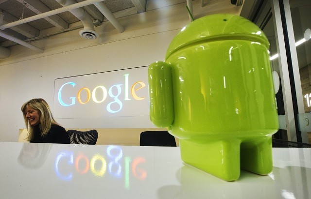 A Google Android figurine at the Google office in Toronto.