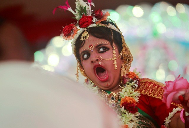Festival girl yawning