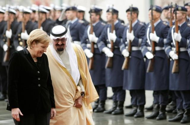 Saudi King with German Chancellor Angela Merkel