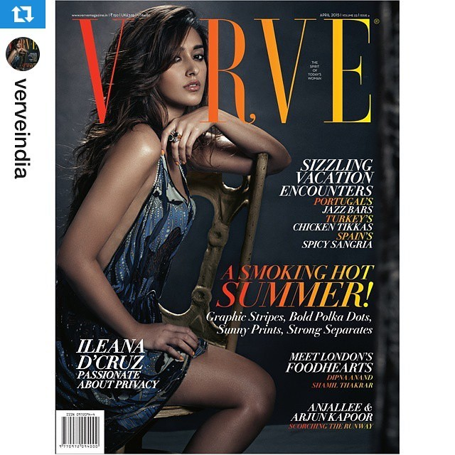 Ileana D'Cruz featured in the cover page of Verve