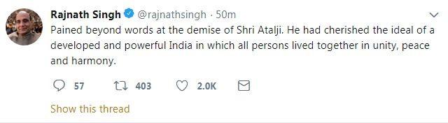 Rajnath Singh tweet on atal