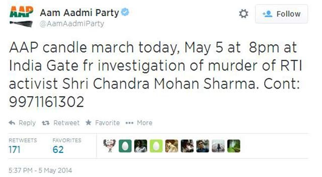 AAP had maintained that its activist was murdered.