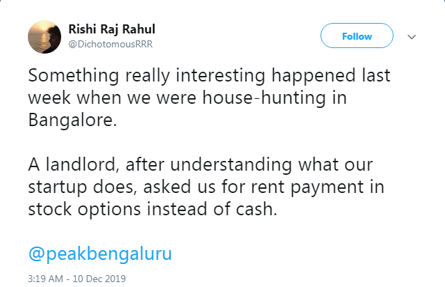 Bengaluru landlord's unusual request surprises startup founder