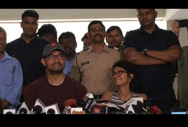 Aamir Khan and Kiran Rao at his birthday press meet