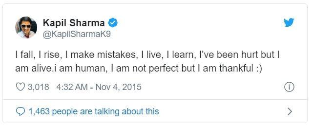 Kapil Sharma's tweet