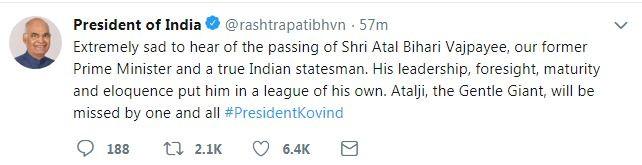 Ram nath Kovind tweet on Atal