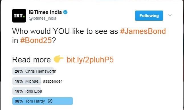 A screenshot of the Twitter poll on James Bond