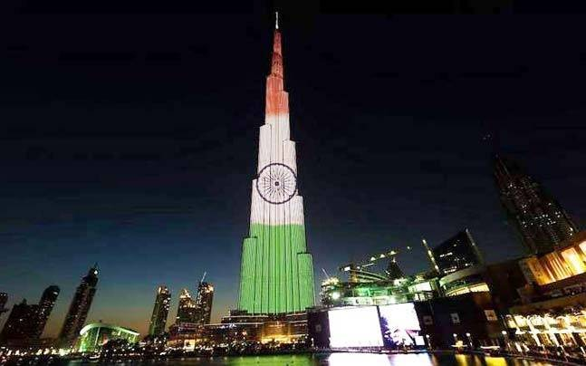 68th Republic Day,Burj Khalifa,Burj Khalifa lights up in colours of Indian flag,Burj Khalifa Indian flag,India flag,India flag on Burj Khalifa,68th Republic Day special,UAE