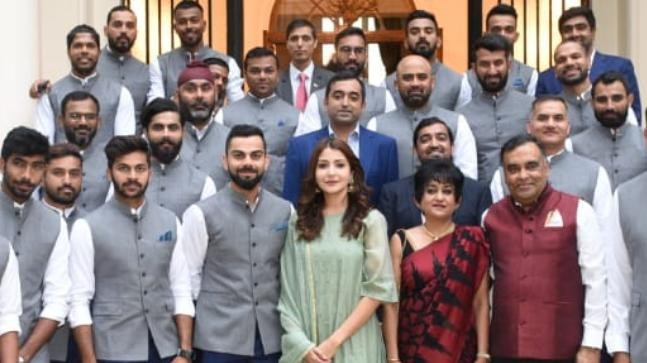Anushka Sharma with the Indian team