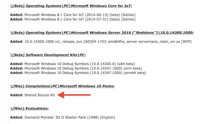 Leaked Windows 10 source code