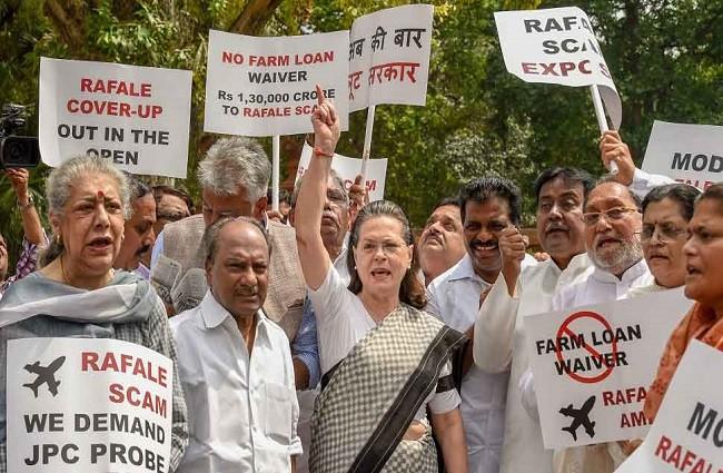 Rafale Deal,Rafale Deal protest,Sonia Gandhi,Narendra Modi,Sonia Gandhi protest outside Parliament,JPC probe
