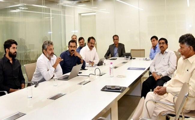 SS Rajamouli and his son Karthikeya at the meeting with Chief Minister Chandrababu Naidu