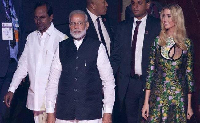 Ivanka Trump with Narendra Modi and K Chandrasekhar Rao