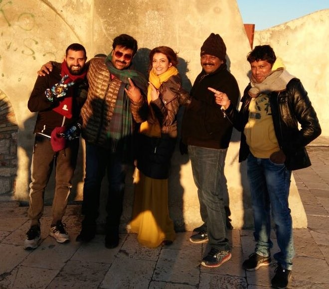 Khaidi No 150,Kajal Aggarwal,Chiranjeevi,Chiranjeevi and Kajal Aggarwal,Chiranjeevi and Kajal Aggarwal in Croatia,Chiranjeevi in Croatia,Kajal Aggarwal in Croatia,Khaidi No 150 shooting,Khaidi No 150 shooting pics,Khaidi No 150 shooting images,Khaidi No 1