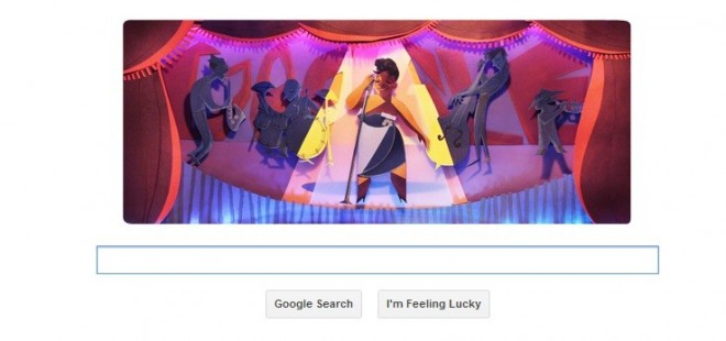 A screenshot of Google Doodle on Ella Fitzgerald's 96th Birthday