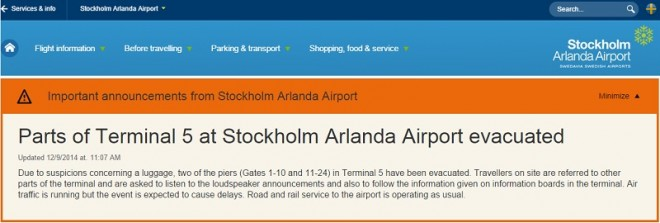 An evacuation message posted on the website of the Arlanda Airport.