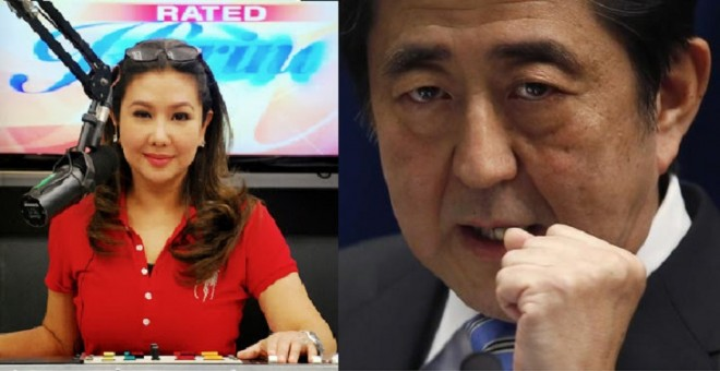 Japanese Prime Minister Shinzo Abe declared Filipino broadcast journalist Korina Sanchez Persona Non Grata following her remarks on super typhoon Ruby is a hoax.