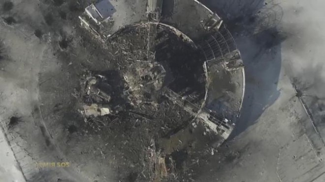 An aerial footage shot by a drone shows a multi-storey control tower of the Sergey Prokofiev International Airport damaged by shelling during fighting between pro-Russian separatists and Ukrainian government forces, in Donetsk, eastern Ukraine.