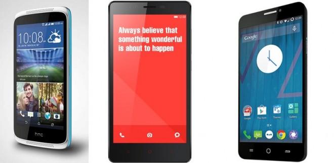 HTC Desire 526G  Xiaomi Redmi Note Yu Yureka