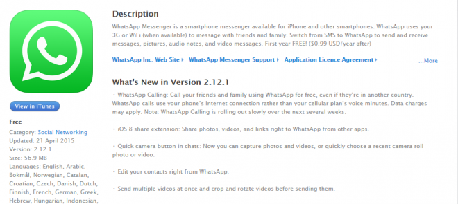 WhatsApp Officially Rolls Out Voice-Calling For iPhones