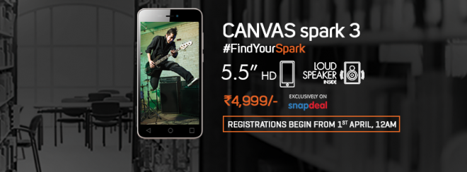 Micromax Canvas Spark 3 launched in India for Rs 4,999