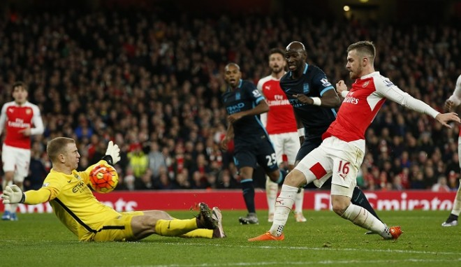 Joe Hart Manchester City Aaron Ramsey Arsenal