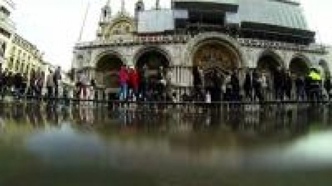 Piazza San Marco in Venice flooded by high waters