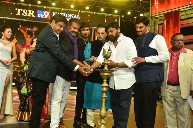 Chiranjeevi, Balakrishna share same stage at TSR TV9 Film