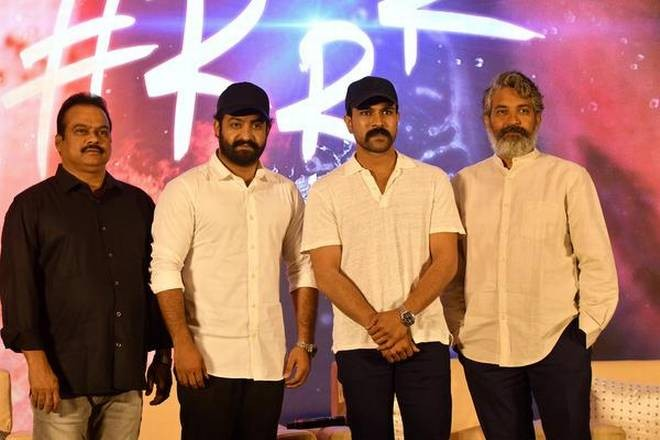 SS Rajamouli, Junior NTR, Ram Charan and DVV Danayya at RRR movie launch