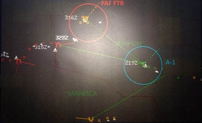 Radar Images of skirmish between MiG-21 of Indian Air force and Pakistani F-16
