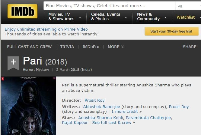 No proper description of Pari on IMDb